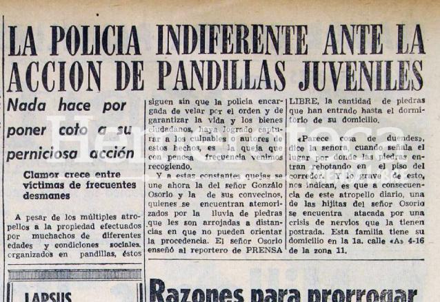 En 1958 los reclamos de los vecinos era por daños a la propiedad por parte de pandillas juveniles. (Foto Prensa Libre: Hemeroteca)