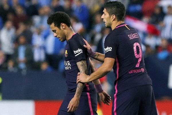 Neymar salió expulsado en le partido del Barcelona contra en Málaga por la Liga española. (Foto Prensa Libre: EFE).