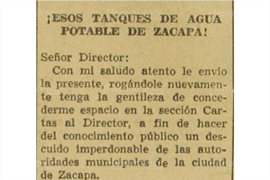 21/5/1958 Vecino de Zacapa envía a Prensa Libre carta en la cual denuncia  contaminación del agua. (Foto: Hemeroteca PL)