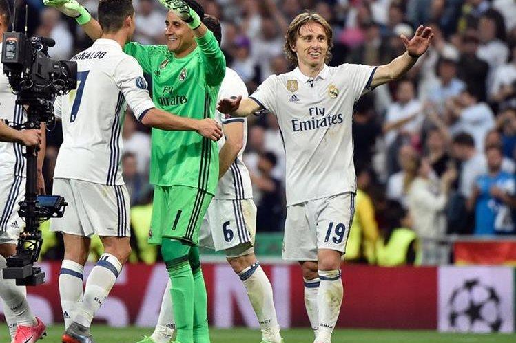 Luka Modric, Cristiano y Keylor Navas fueron tres protagonistas en el triunfo del Madrid. (Foto Prensa Libre: AFP)