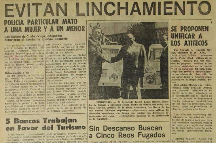 El 31 de julio de 1972 Prensa Libre publicó el conato de linchamiento de un supuesto asesino en Ciudad Vieja, Sacatepéquez.