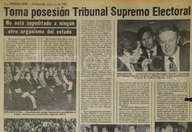 El 30 de junio de 1983 tomaron posesión los magistrados del nuevo Tribunal Supremo Electoral. (Foto: Hemeroteca PL)