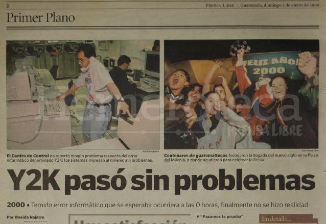 Nota periodística del 2 de enero de 2000 sobre el fallo Y2K. (Foto: Hemeroteca PL)