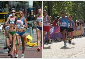 Mirna Ortiz, Érick y José Barrondo durante en el circuito The Mall en Londres, durante la prueba femenina y masculina respectivamente de los 20 kilómetros de Marcha del Mundial. (Foto Prensa Libre: Norvin Mendoza)