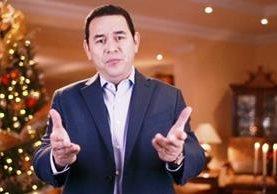 El presidente Jimmy Morales compartió el mensaje en las cuentas de redes sociales oficiales. (Foto Prensa Libre: Cortesía)