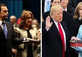 Juramentación de los presidente de Guatemala, Jimmy Morales -Izq.- y su homólogo estadounidense, Donald Trump -Der.- (Foto Prensa Libre: Hemeroteca PL)