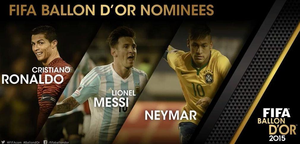 El portugués Cristiano Ronaldo, el argentino Lionel Messi y el brasileño Neymar son los candidatos al Balón de Oro FIFA 2015. (Foto Prensa Libre: www.fifa.com)
