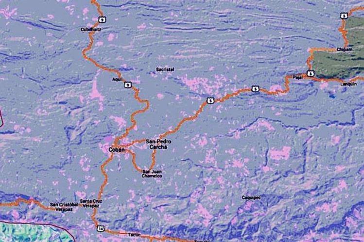 Mapa de Alta Verapaz, donde ocurrió el percance. (Foto Prensa Libre: Internet)