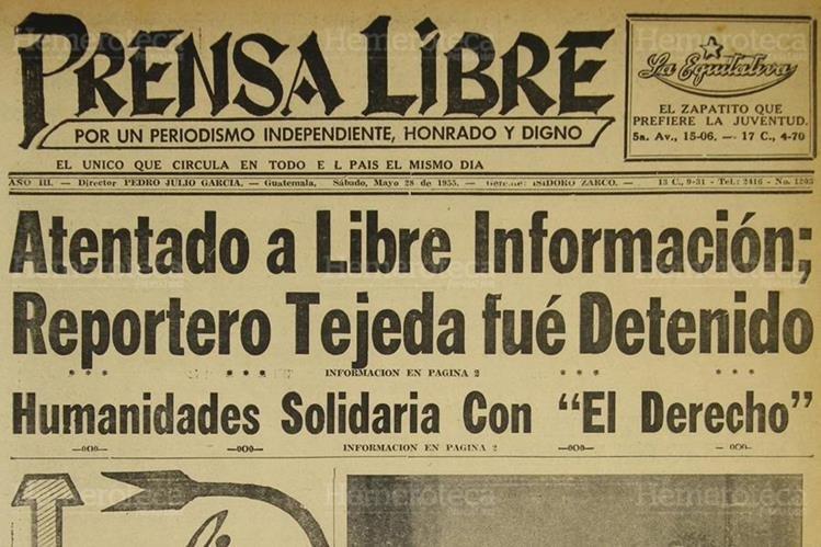 Portada de Prensa Libre del 28/05/1955 en donde se denuncia el atentado a la libre información. (Foto: Hemeroteca PL)