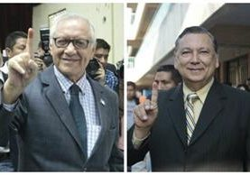 El presidente Alejandro Maldondo y el vicepresidente Alfonso Fuentes pidieron a los guatemaltecos ejercer su derecho para elegir al nuevo Presidente del país. (Foto Prensa Libre: Erick Avila)