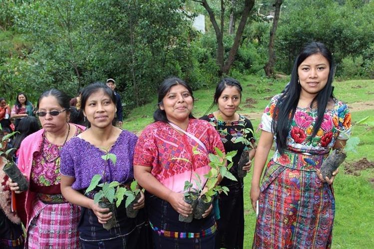 Mujeres también participaron en reforestación. (Foto Prensa Libre: Ángel Julajuj).