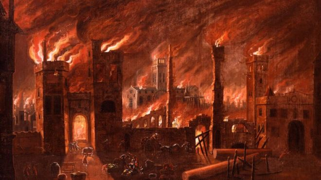 Pintura al óleo del Gran Incendio visto desde Ludgate, cerca a 1670. La pintura fue restaurada alrededor de 1910, revelando esta vívida escena. MUSEO DE LONDRES