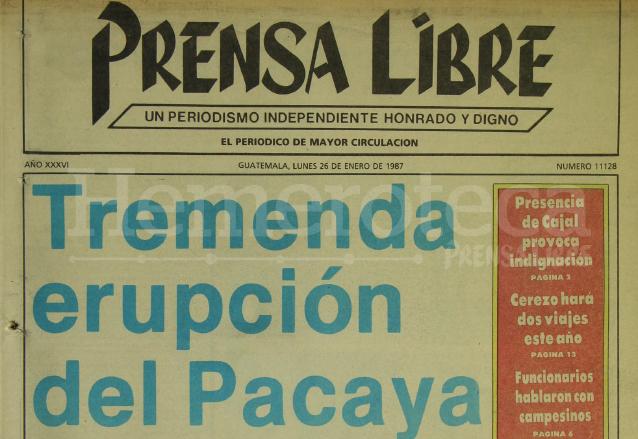 Titular de Prensa Libre del 26/01/1987. (Foto: Hemeroteca PL)