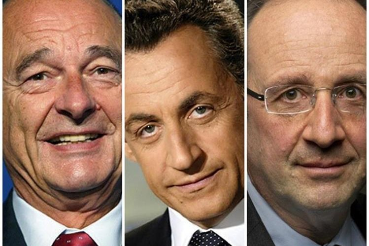Jacques Chirac, Nicolas Sarkozy y Francois Hollande.