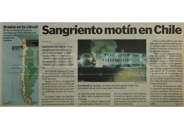 El 21 de mayo de 2001 un incendio se produce en un centro carcelario de Iquique, Chile. (Foto: Hemeroteca PL)
