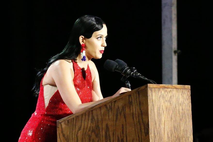 Katy Perry estuvo en Nueva York para la noche de las elecciones en EE. UU. (Foto Prensa Libre: AFP)