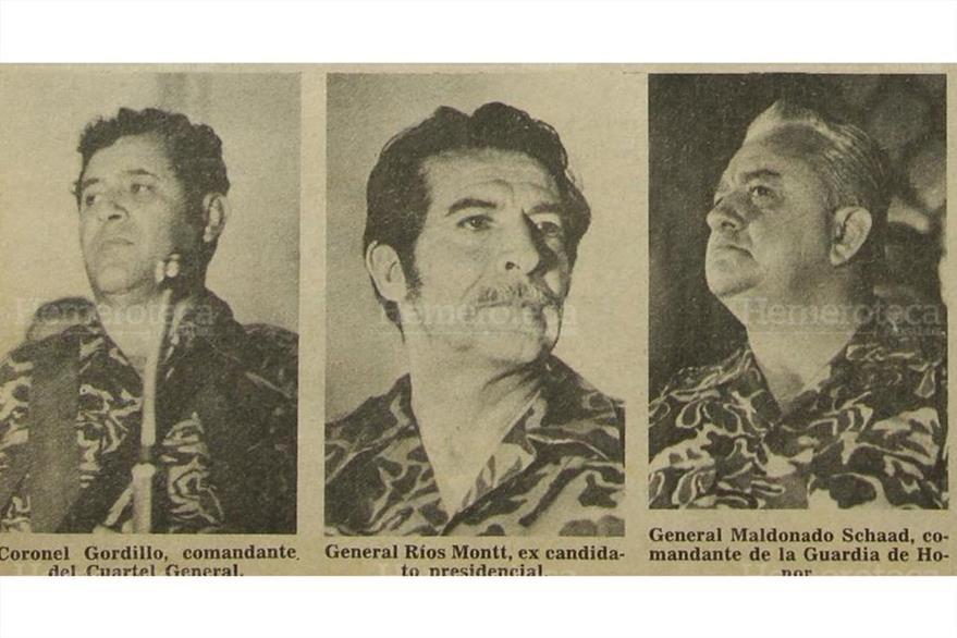 Francisco Luis Gordillo, Ríos Montt y Horacio Maldonado, líderes de los oficiales jóvenes de 1982. (Foto: Hemeroteca PL)
