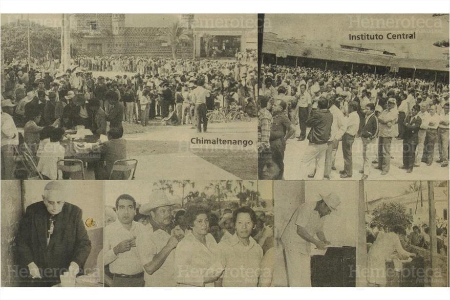 07/03/1982 Votaciones del 07/03/1982 El cardenal Mario Casariegos y Aníbal Guevara depositan su voto. (Foto: Hemeroteca PL)