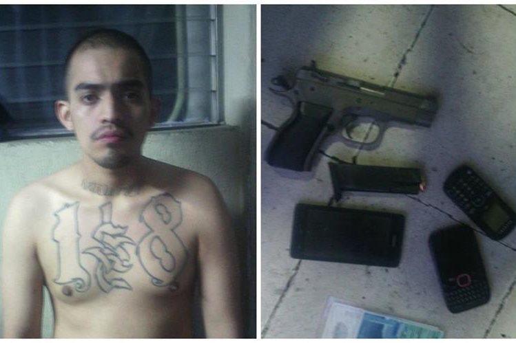 José Luis Rodríguez Muñoz, portaba una pistola con la que se supone atacaría al piloto de un autobús en Mixco. (Foto Prensa Libre: Cortesía PNC)