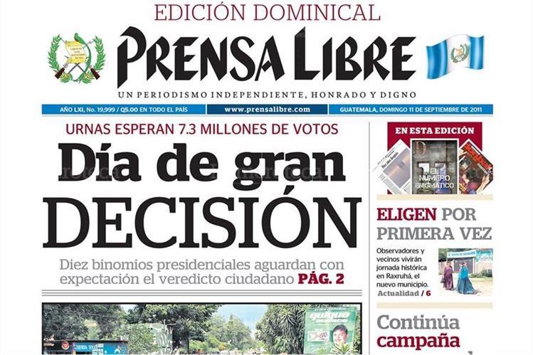 Portada 11/9/2011 de Prensa Libre hacia oficial que 10 binomios iban a las elecciones. (Foto: Hemeroteca PL)
