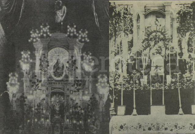 El antiguo altar mayor del Templo de Santo Domingo, estaba elaborado en mármol en estilo neoclásico. A la derecha la Virgen del Rosario luego de su coronación en 1934. (Foto: Hemeroteca PL)