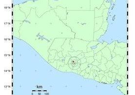 El sismo tuvo su epicentro a 16.4 kilómetros al suroeste de la capital. (Foto Prensa Libre: Insivumeh)