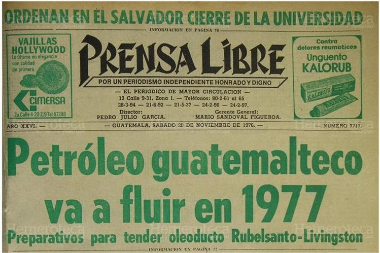 Portada de Prensa Libre del 20/11/1976 sobre oleoducto de Rubelsanto.(Foto: Hemeroteca PL)