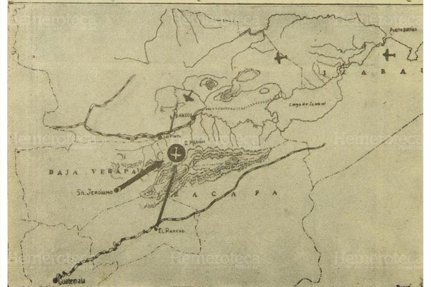 El mapa representa la región montañosa de la Sierra de Las Minas, donde se estrelló el avión de Aviateca, el 26/5/1956.