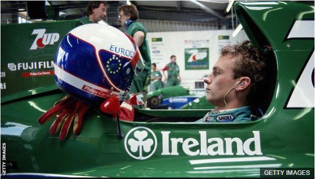 Bertrand Gachot, cuando era un prometedor corredor de Fórmula 1 con la escudería Jordan.