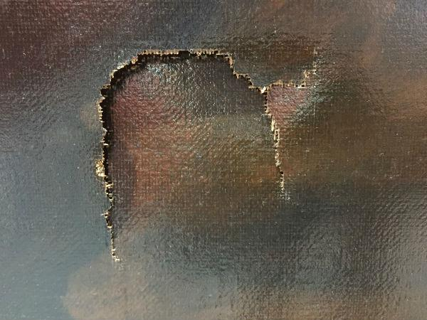 Este fue el daño causado a la pintura, valorada en US$1.5 millones. (Foto: meganoticias.mx)