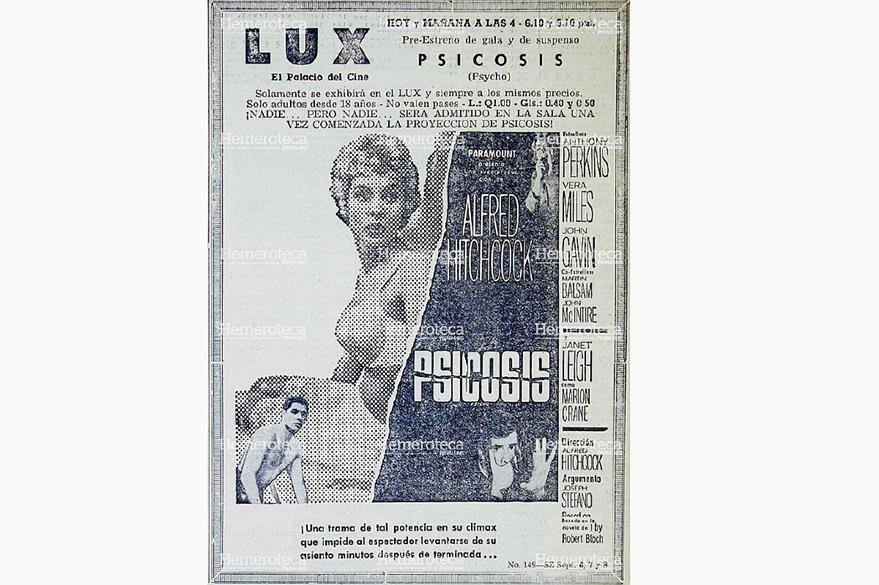 """Anuncio de una de las más emblemáticas películas de Hitchcock, """"Psicosis"""" que se proyectó en el desaparecido cine Lux en 1961. Foto: Hemeroteca PL"""