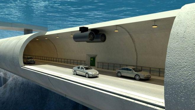 El túnel estará sumergido 30 metros, lo que les permitirá a los automovilistas atravesar los fiordos de Noruega entre las ciudades de Kristiansand Trondheim, algo que por ahora sólo es posible en ferry. GOBIERNO NORUEGO/VIANOVA