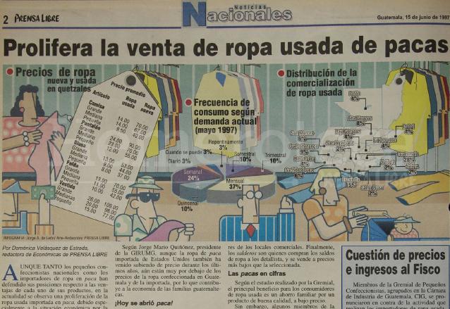 Nota del 15 de junio de 1997 informando sobre la preliferación de las ventas de ropa usada o pacas. (Foto: Hemeroteca PL)