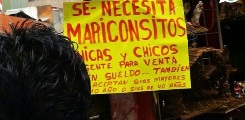 Un anuncio que solicita trabajadores causa molestia a usuarios. (Foto Prensa Libre: El Comercio)