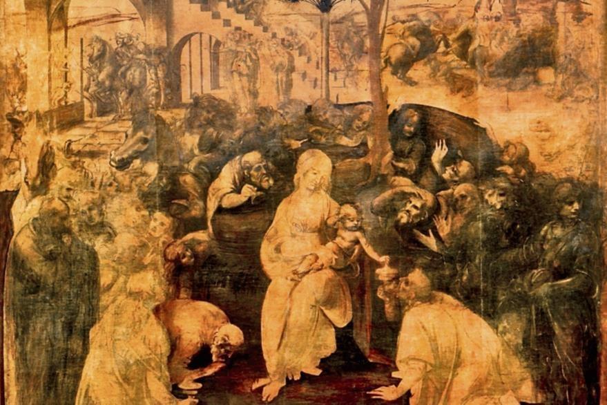 Obra del  pintor renacentista italiano Leonardo da Vinci (1452-1519). Está pintada al óleo sobre una tabla que mide 246 cm de alto y 243 cm de ancho y data del periodo 1481-1482. Se conserva en la Galería de los Uffizi de Florencia.