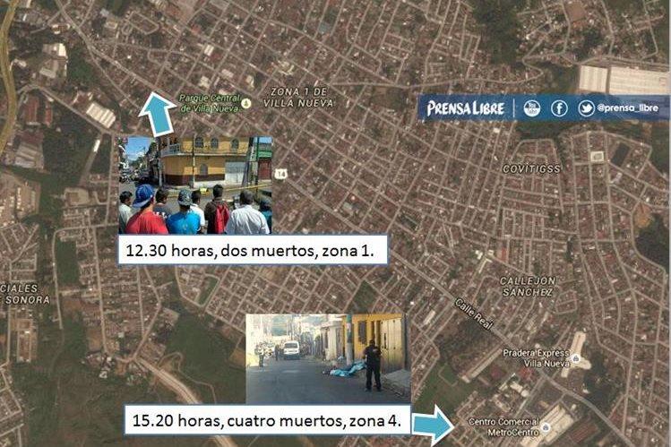 Seis hombres perdieron la vida este lunes en dos ataques armados en la zona 1 y 4 de Villa Nueva. (Infografía Prensa Libre)