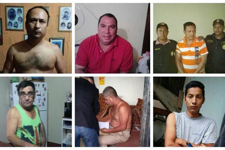 Tres agentes y un subcomisario de la Policía Nacional Civil detenidos por su presunta implicación en el robo de vehículos. (Foto Prensa Libre: Estuardo Paredes)