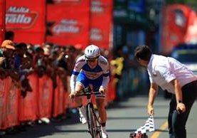 El guatemalteco Manuel Rodas realizó el mejor tiempo en la cuarta etapa de la Vuelta a Guatemala. (Foto Prensa Libre: Carlos Vicente)