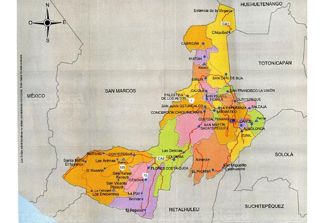 Mapa del departamento de Quetzaltenango (Foto: Hemeroteca PL)