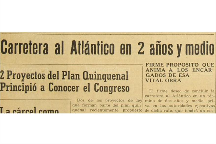 Proyecto de construcción de la carretera al Atlántico se da a conocer el 20/11/1952. (Foto: Hemeroteca PL)