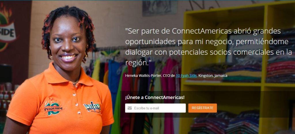 El sitio web connectamericas.com invita a los empresarios a unirse.