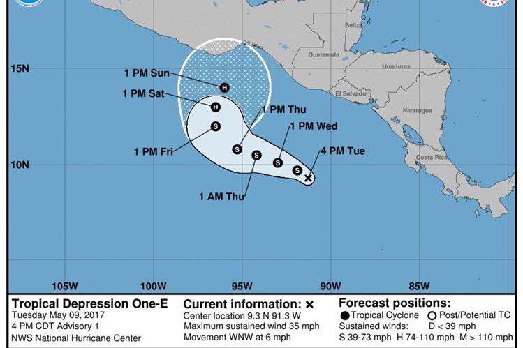 Trayectoria de la depresión tropical 1-E y su posible evolución a huracán en los próximos días. (Fuente: NOAA)
