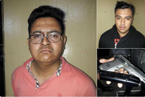 La PNC reportó la detención de dos personas que dispararon a un autopatrulla cuando circulaba por la zona 9. (Foto Prensa Libre: PNC)