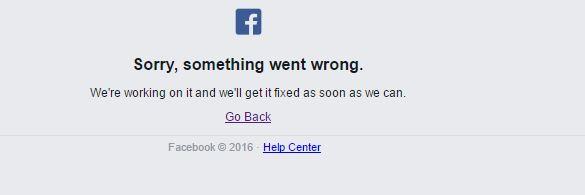 Este fue el aviso de Facebook sobre la caída del servicio.