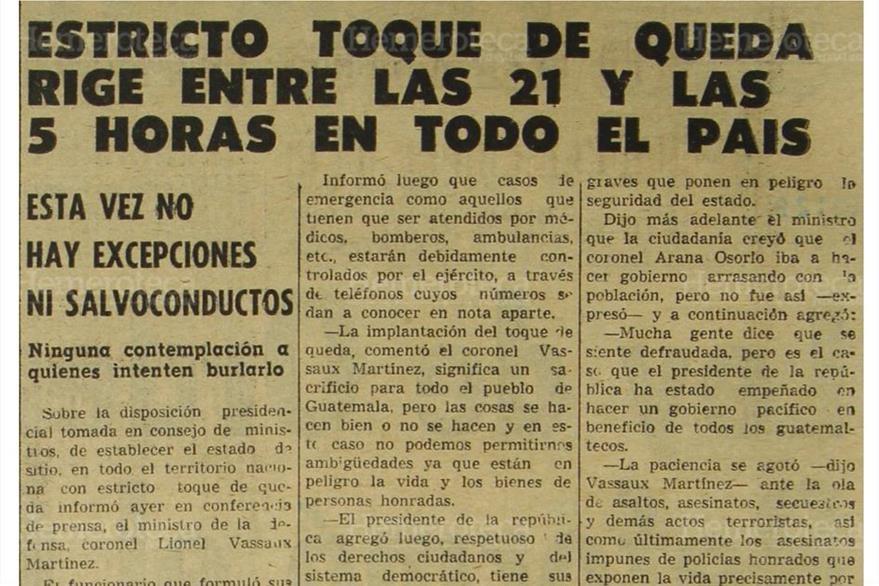 14/11/1970 Publicación de Prensa Libre, informando a la población sobre  el toque de queda. (Foto: Hemeroteca PL)