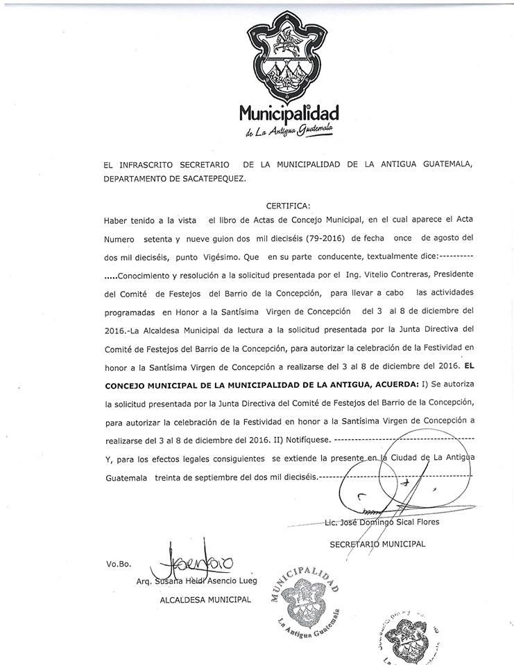 Municipalidad de Antigua Guatemala autorizó la celebración en el barrio La Concepción a través del acta 79-2016. (Foto Prensa Libre Miguel López)