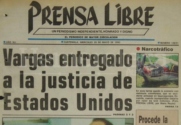 Titular de Prensa Libre del 20 de mayo de 1992. (Foto: Hemeroteca PL)