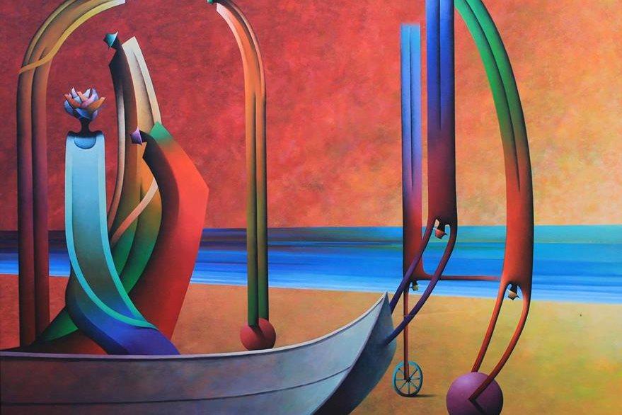 El color y las figuras humanas alongadas distinguen la obra de Peneleu. (Foto Prensa Libre: Hemeroteca PL)
