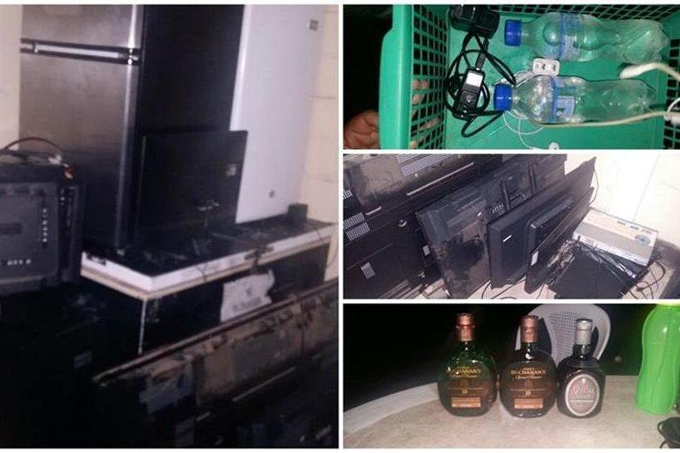 Electrodomésticos, teléfonos y licor, fueron incautados en cárcel Mariscal Zavala. (Foto Prensa Libre: Cortesía)