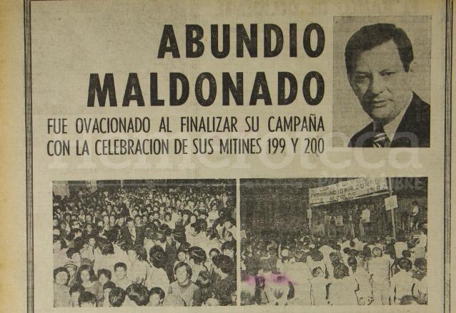 Detalle de un anuncio de propaganda durante la Campaña electoral por la Alcaldía metropolitana de 1978. (Foto: Hemeroteca PL)
